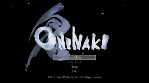 Main menu screenshot of Oninaki video game interface.