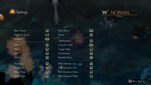 Settings screenshot of Oninaki video game interface.