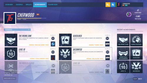 Achievements screenshot of Overwatch video game interface.