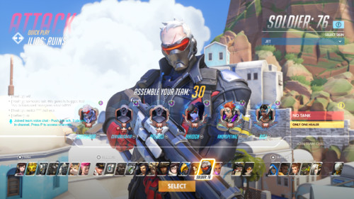 Assemble your team screenshot of Overwatch video game interface.