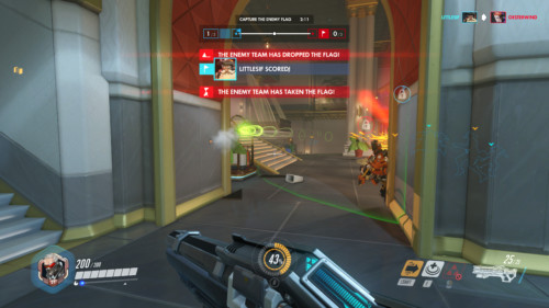 Capture the enemy flag screenshot of Overwatch video game interface.