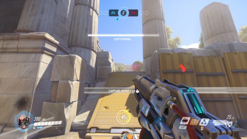Capturing screenshot of Overwatch video game interface.