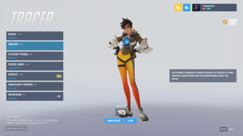 Character inventory screenshot of Overwatch video game interface.