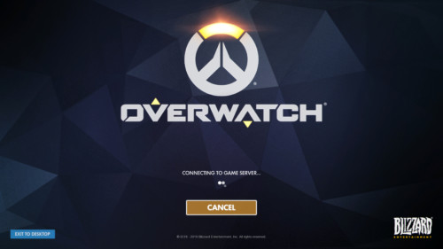 Connecting to game server screenshot of Overwatch video game interface.