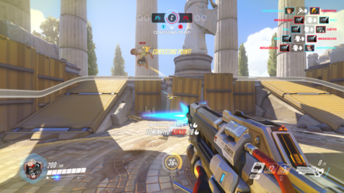 Contesting point screenshot of Overwatch video game interface.