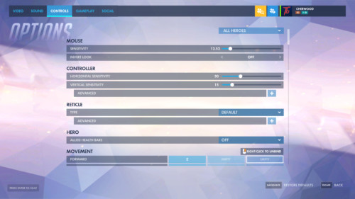 Controls screenshot of Overwatch video game interface.