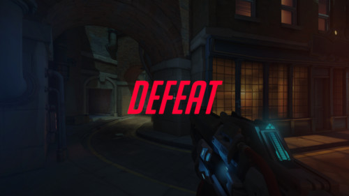 Defeat screenshot of Overwatch video game interface.