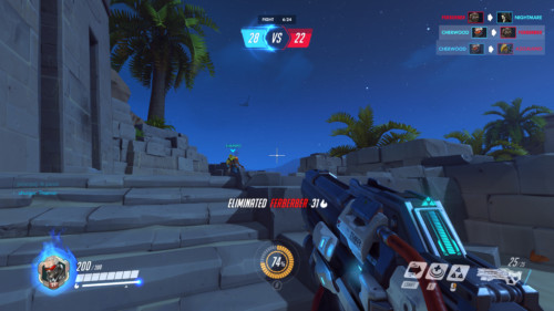Eliminated screenshot of Overwatch video game interface.