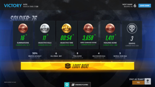 Loot box win screenshot of Overwatch video game interface.