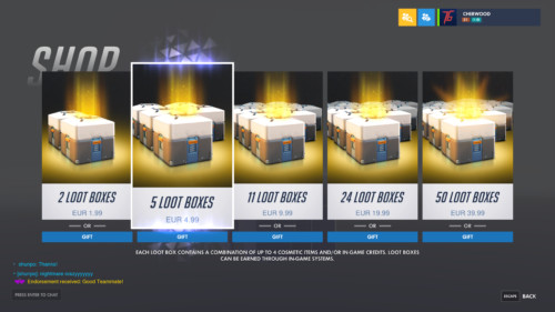 Shop screenshot of Overwatch video game interface.