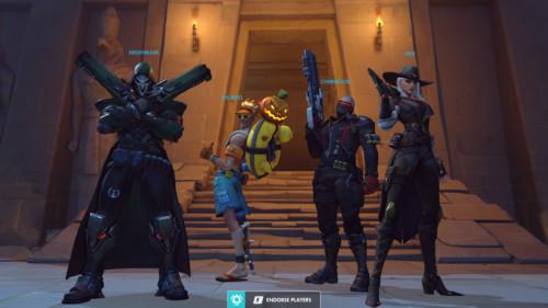 Winner team screenshot of Overwatch video game interface.