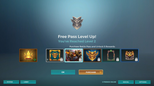Free pass level up screenshot of Paladins: Champions of the Realm video game interface.