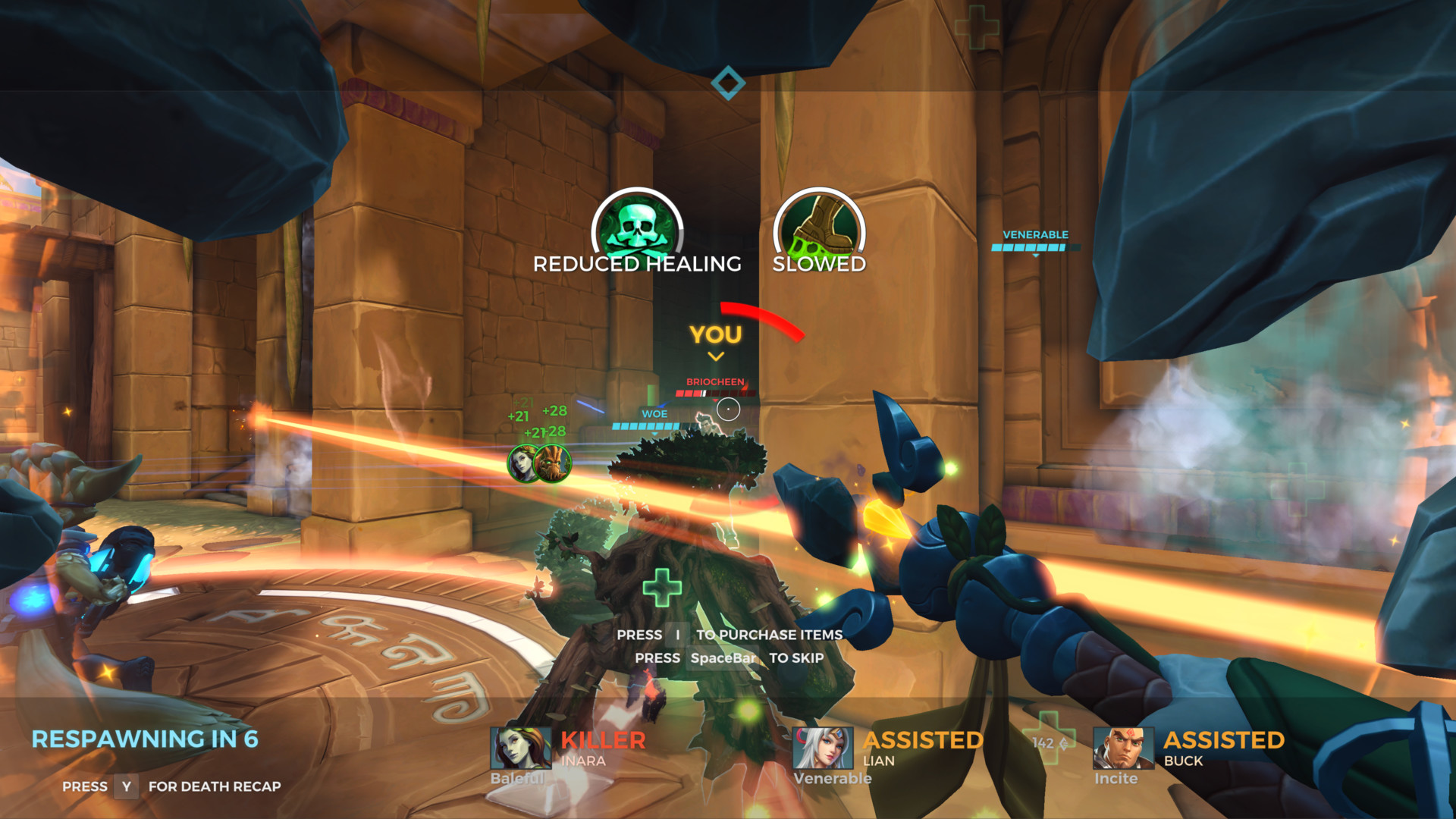 Kill cam screenshot of Paladins: Champions of the Realm video game interface.