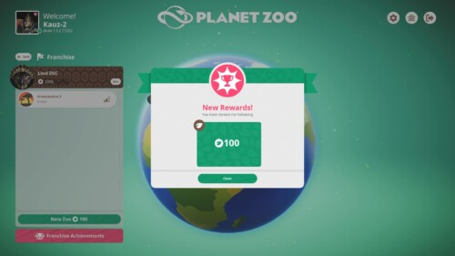 Announcement screenshot of Planet Zoo video game interface.