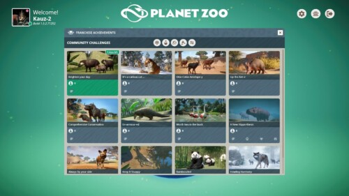 Community challenges screenshot of Planet Zoo video game interface.