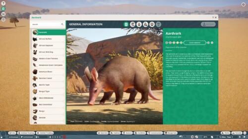 Encyclopedia screenshot of Planet Zoo video game interface.