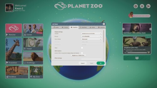 Graphics settings screenshot of Planet Zoo video game interface.