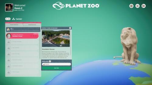 Select career screenshot of Planet Zoo video game interface.