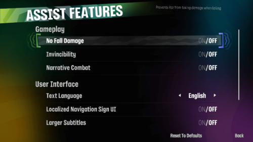 Assist Features screenshot of Psychonauts 2 video game interface.