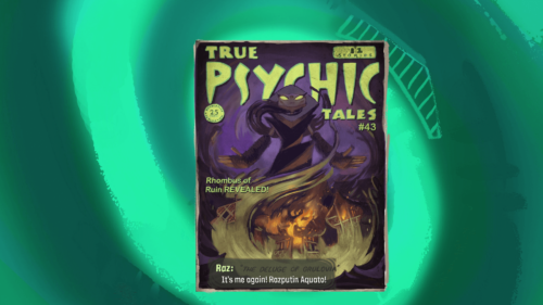 Collectible screenshot of Psychonauts 2 video game interface.