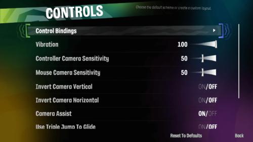 Controls screenshot of Psychonauts 2 video game interface.