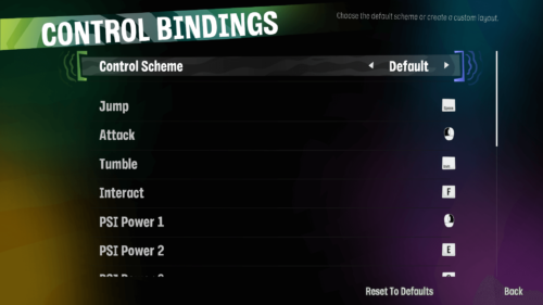 Controls Binding screenshot of Psychonauts 2 video game interface.