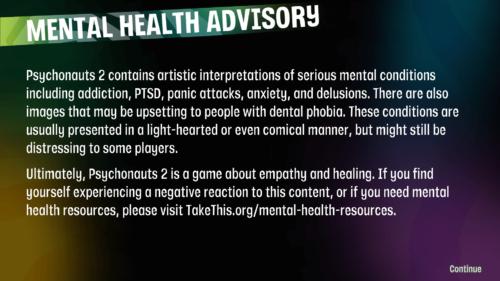 Info screenshot of Psychonauts 2 video game interface.