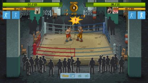 Combat screenshot of Punch Club video game interface.