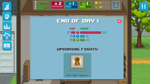 End of day screenshot of Punch Club video game interface.