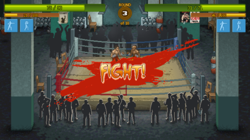 Fight screenshot of Punch Club video game interface.
