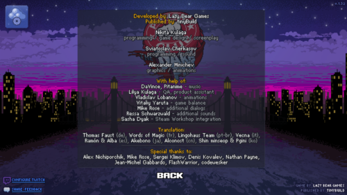 Game credits screenshot of Punch Club video game interface.