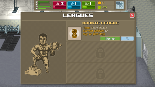 Leagues screenshot of Punch Club video game interface.