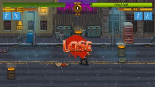 Lose screenshot of Punch Club video game interface.