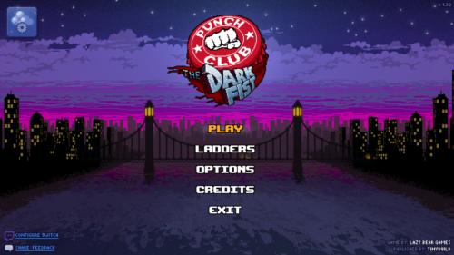Main menu screenshot of Punch Club video game interface.