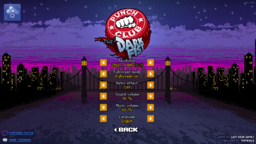 Options screenshot of Punch Club video game interface.