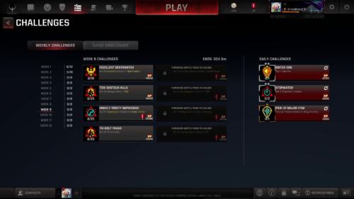 Challenges screenshot of Quake Champions video game interface.