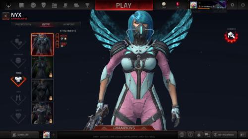 Character customization screenshot of Quake Champions video game interface.