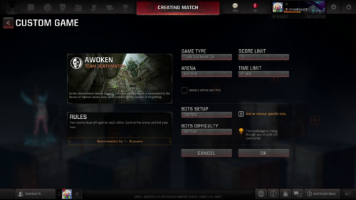 Custom game screenshot of Quake Champions video game interface.