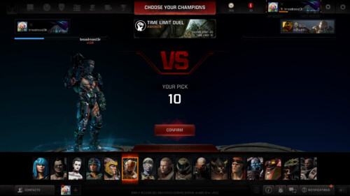 Duel character selection screenshot of Quake Champions video game interface.