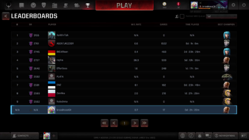 Global leaderboards screenshot of Quake Champions video game interface.