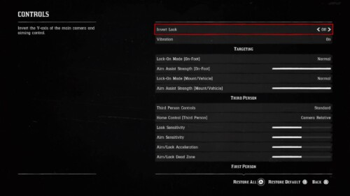 Controls screenshot of Red Dead Redemption 2 video game interface.