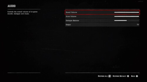 Audio screenshot of Red Dead Redemption 2 video game interface.