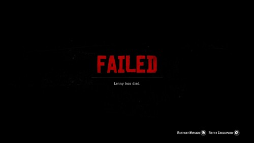 Game Over screenshot of Red Dead Redemption 2 video game interface.