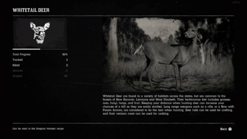 Animal Info screenshot of Red Dead Redemption 2 video game interface.