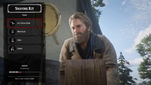 Barber screenshot of Red Dead Redemption 2 video game interface.