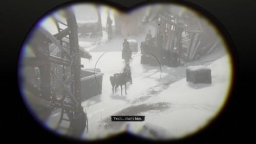 Binocular screenshot of Red Dead Redemption 2 video game interface.