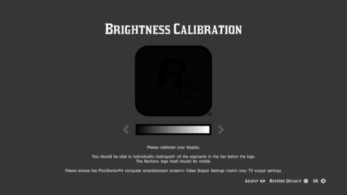 Brightness screenshot of Red Dead Redemption 2 video game interface.