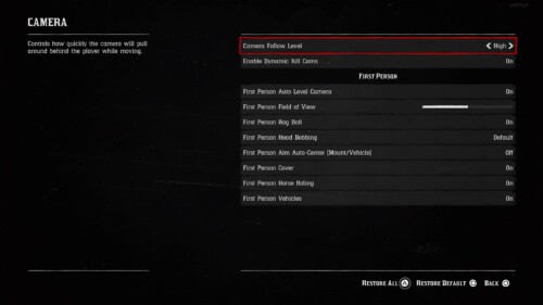 Camera screenshot of Red Dead Redemption 2 video game interface.