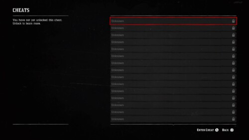 Cheats screenshot of Red Dead Redemption 2 video game interface.