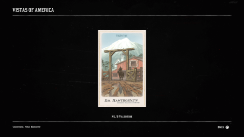 Collectible screenshot of Red Dead Redemption 2 video game interface.